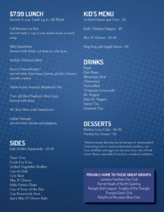 RallyPoint restaurant and bar menu Cary, NC - burgers, wings, beer, barbecue, bbq